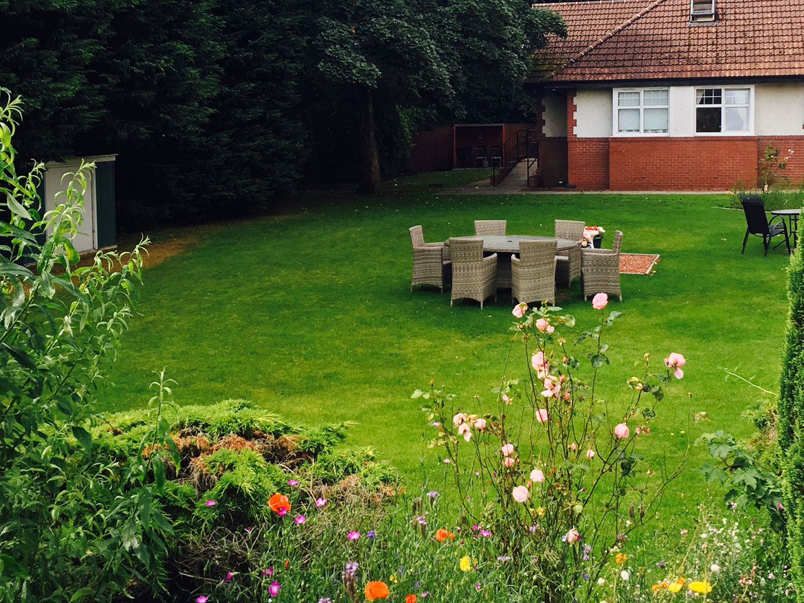 Beautiful gardens at Parkhouse Manor Care Home